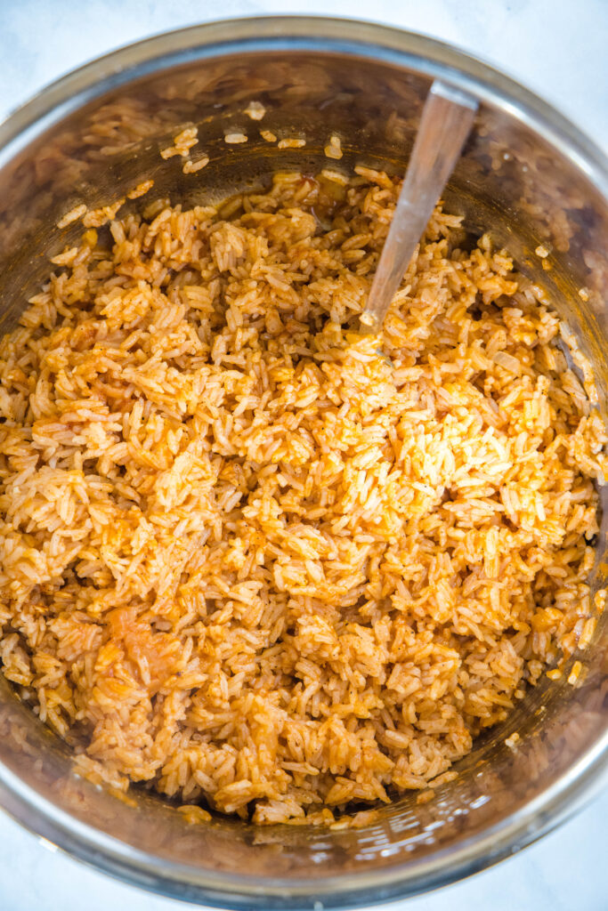 fluffed spanish rice in the instant pot