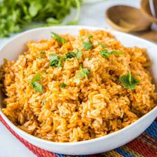 close up of spanish rice in a bowl