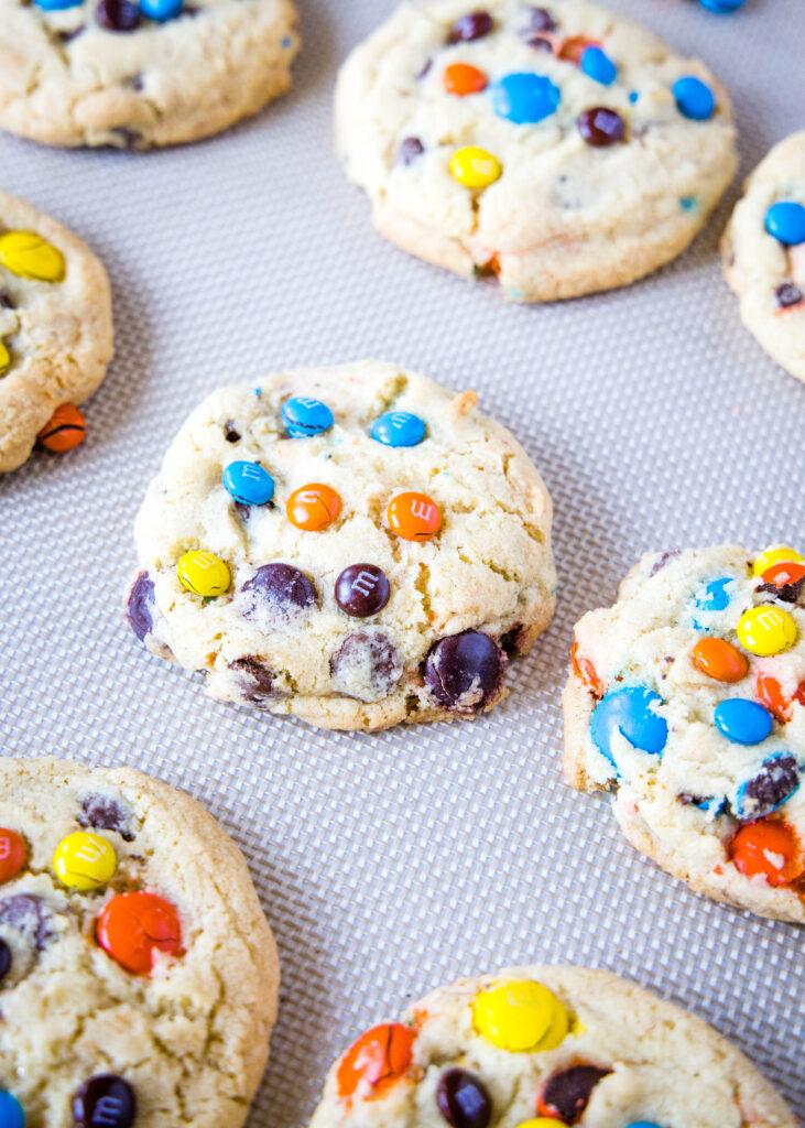 M&M cookies on a baking sheet