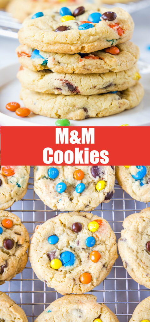 close up of M&M cookies for pinterst collage