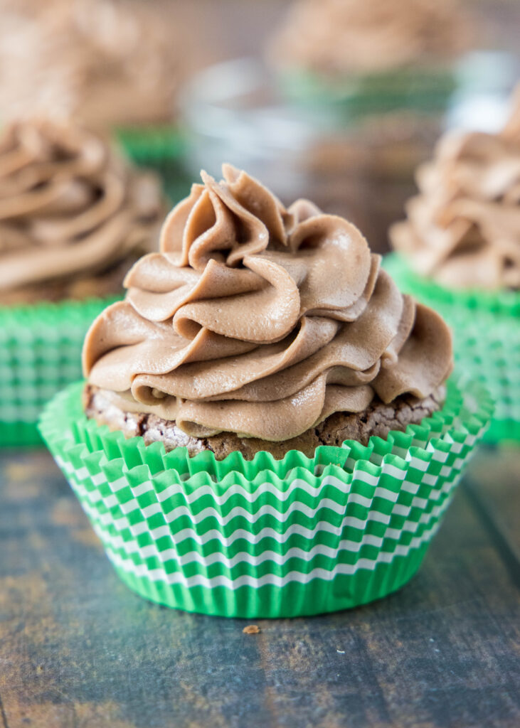 chocolate nutella cupcakes on a table