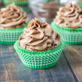 close up chocolate cupcake with nutella frosting