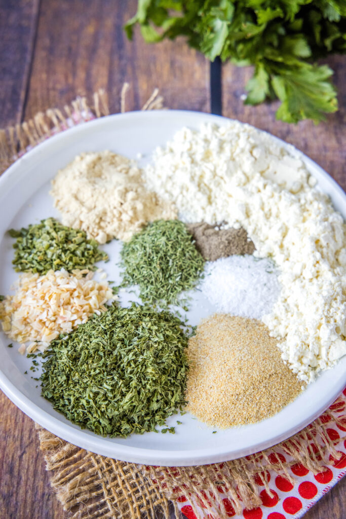ingredients for ranch dressing mix on a plate