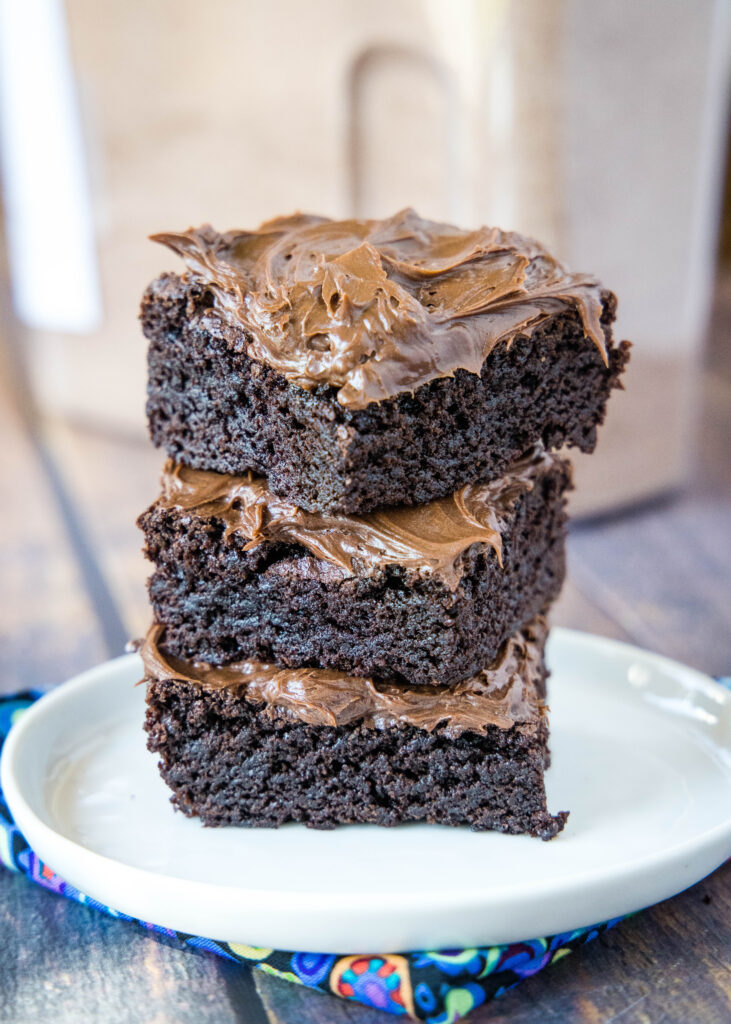 frosted brownies made from brownie mix