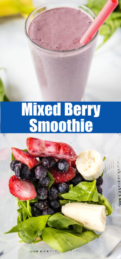 collage of berry smoothie for pinterest